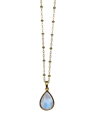 Von Treskow Rosario Chain Necklace w/ Pear Moonstone - Gold - Mocha