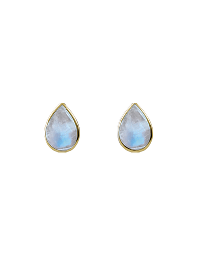 Von Treskow Cased Pear Moonstone Studs - Gold - Mocha