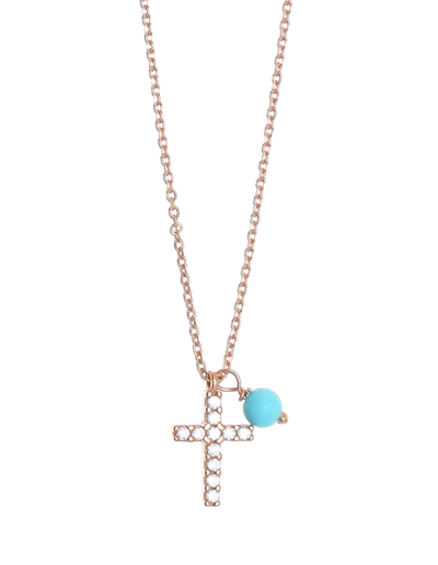 Gregio Tiny Shiny Cross Necklace w/ Turquoise & White Zirconia - Rose Gold - Mocha