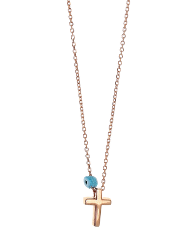 Gregio Tiny Shiny Cross Necklace w/ Evil Eye - Rose Gold - Mocha
