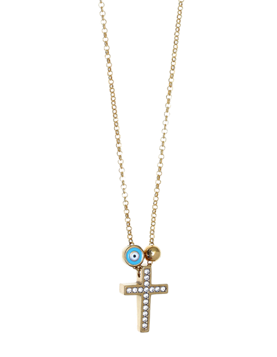 Gregio Tiny Shiny Cross Necklace w/ Evil Eye & White Zirconia - Gold - Mocha