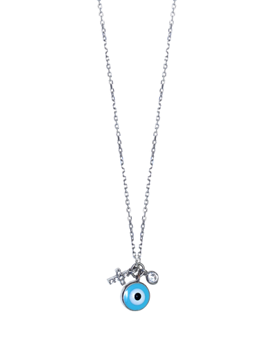 Gregio Tiny Shiny Necklace w/ Round Evil Eye & White Zirconia - Silver - Mocha