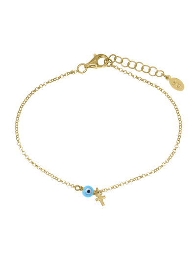 Gregio Tiny Shiny Bracelet w/ Cross & Evil Eye - Gold - Mocha