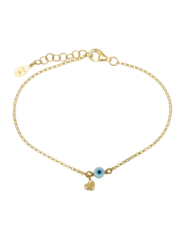 Gregio Tiny Shiny Bracelet w/ Heart & Evil Eye - Gold - Mocha