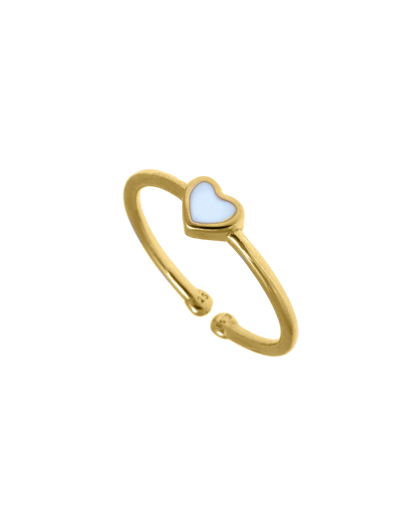 Gregio Tiny Shiny Adjustable Ring w/ Enamel Heart - Gold - Mocha