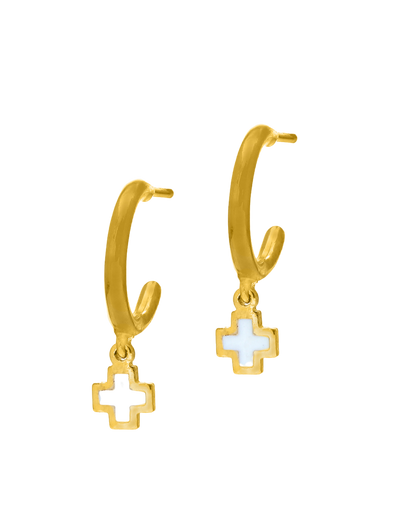 Gregio Tiny Shiny Earrings w/ Enamel Cross - Gold - Mocha