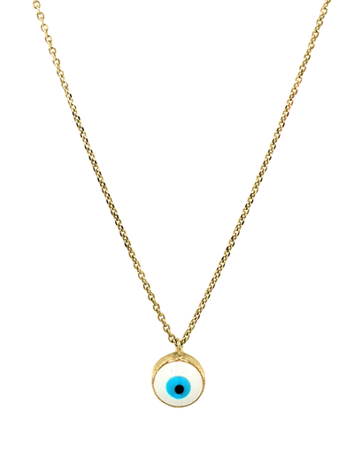 Gregio Luck Day Necklace w/ Enamel Evil Eye - Gold - Mocha