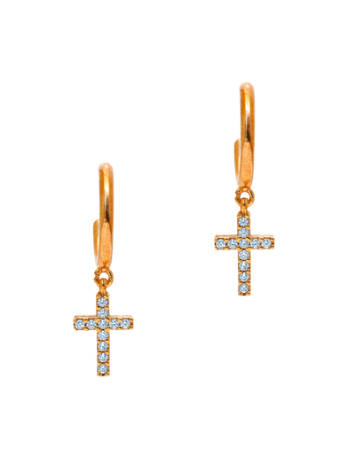 Gregio Tiny Shiny Cross Earrings w/ Zirconia - Rose Gold - Mocha