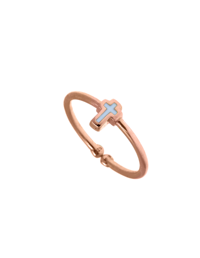 Gregio Tiny Shiny Adjustable Ring w/ Enamel Cross - Rose Gold - Mocha