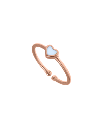 Gregio Tiny Shiny Adjustable Ring w/ Enamel Heart - Rose Gold - Mocha