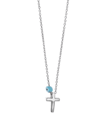 Gregio Tiny Shiny Cross Necklace w/ Evil Eye - Silver - Mocha