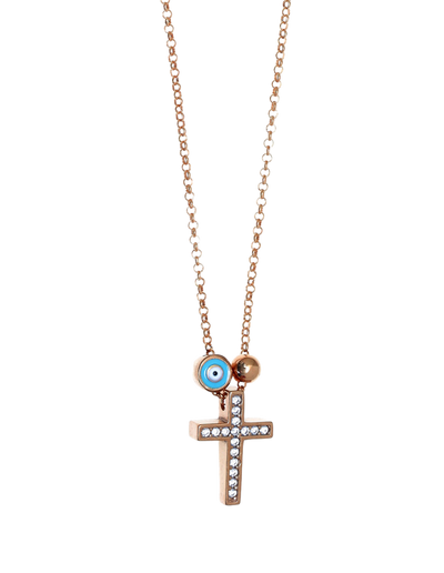 Gregio Tiny Shiny Cross Necklace w/ Evil Eye & Zirconia - Rose Gold - Mocha