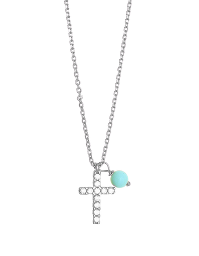 Gregio Tiny Shiny Cross Necklace w/ Turquoise & White Zirconia - Silver - Mocha