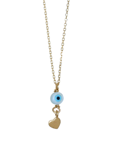 Gregio Tiny Shiny Necklace w/ Evil Eye & Heart - Gold - Mocha