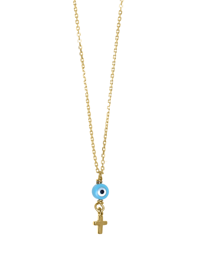 Gregio Tiny Shiny Necklace w/ Evil Eye & Cross - Gold - Mocha