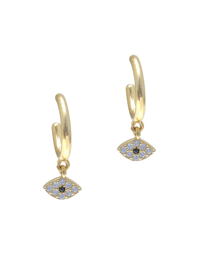 Gregio Tiny Shiny Evil Eye Earrings w/ Zirconia - Gold - Mocha