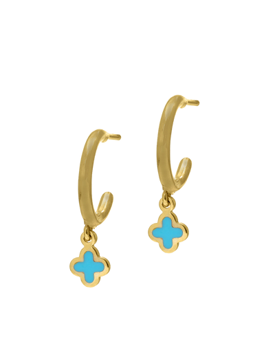 Gregio Tiny Shiny Earrings w/ Enamel Clover - Gold - Mocha
