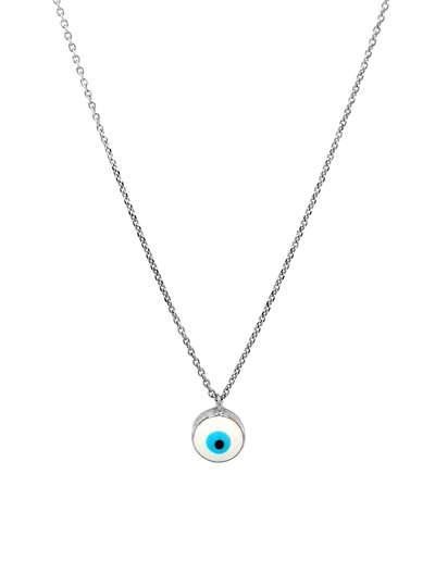 Gregio Lucky Day Necklace w/ Enamel Evil Eye - Silver - Mocha