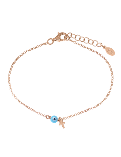 Gregio Tiny Shiny Bracelet w/ Cross & Evil Eye - Rose Gold - Mocha