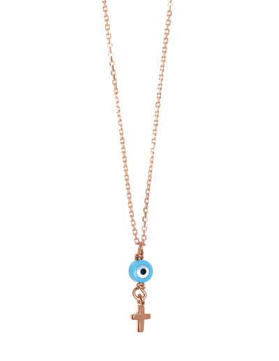 Gregio Tiny Shiny Necklace w/ Evil Eye & Cross - Rose Gold - Mocha