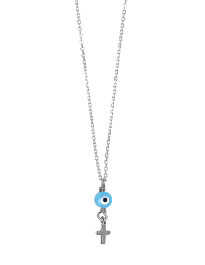 Gregio Tiny Shiny Necklace w/ Evil Eye & Cross - Silver - Mocha
