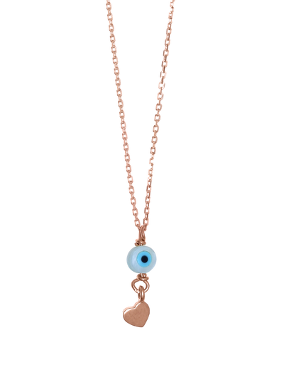 Gregio Tiny Shiny Necklace w/ Evil Eye & Heart - Rose Gold - Mocha