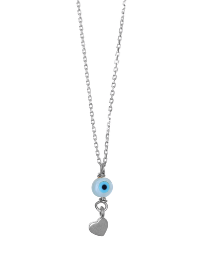 Gregio Tiny Shiny Necklace w/ Evil Eye & Heart - Silver - Mocha