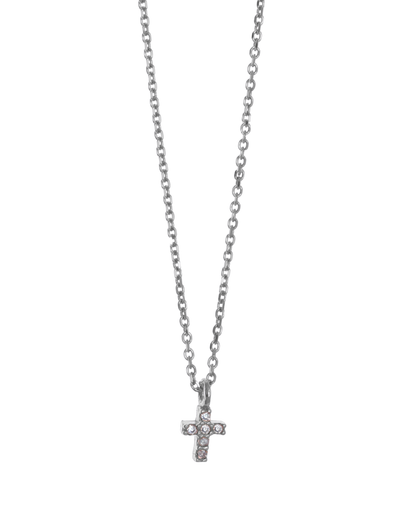 Gregio Tiny Shiny Cross Necklace w/ White Zirconia - Silver - Mocha