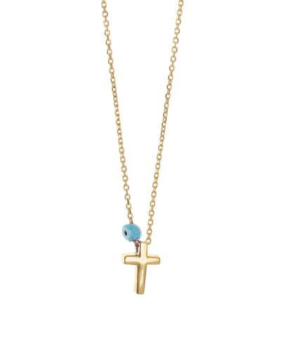 Gregio Tiny Shiny Cross Necklace w/ Evil Eye - Gold - Mocha