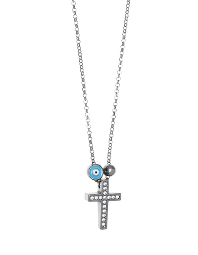 Gregio Tiny Shiny Cross Necklace w/ Evil Eye & Zirconia - Silver - Mocha