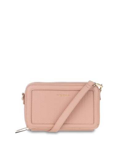 Mocha Braidy Double Zip Clutch Crossbody - Pink Nude - Mocha