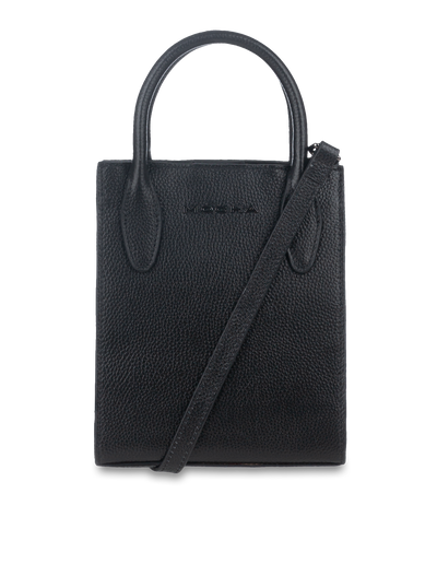 Mocha Petite Leather Tote Bag - Black - Mocha
