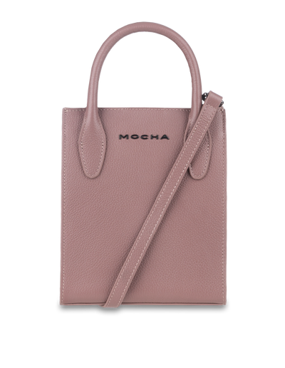 Mocha Petite Leather Tote Bag - Mauve - Mocha