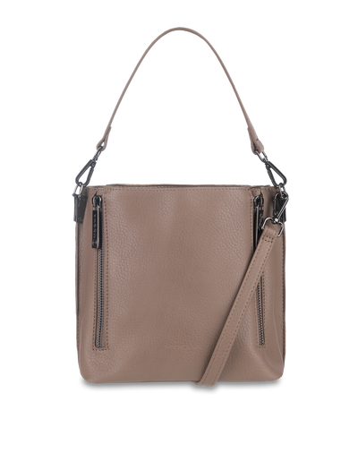 Mocha Isabelle Double Zip Bucket Bag - Dark Taupe - Mocha