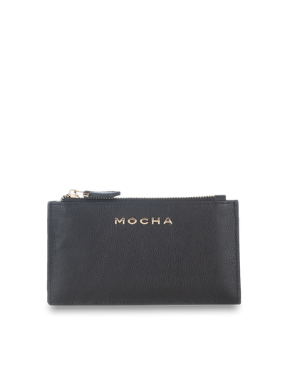 Mocha Classic Leather Card Coin Wallet - Black - Mocha