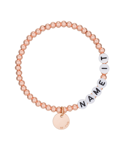 Mocha Name-It Customisable Bracelet 4mm - Rose Gold - Mocha