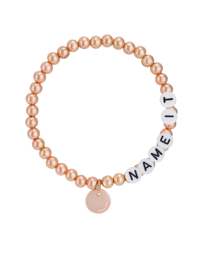 Mocha Name-It Customisable Bracelet 5mm - Rose Gold - Mocha