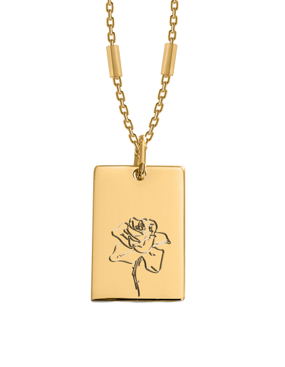 Bianko Birth Flower Necklace June (Rose) - Gold - Mocha