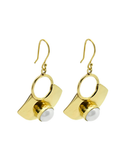 Ichu Golden Pearl Drop Earrings - Gold - Mocha