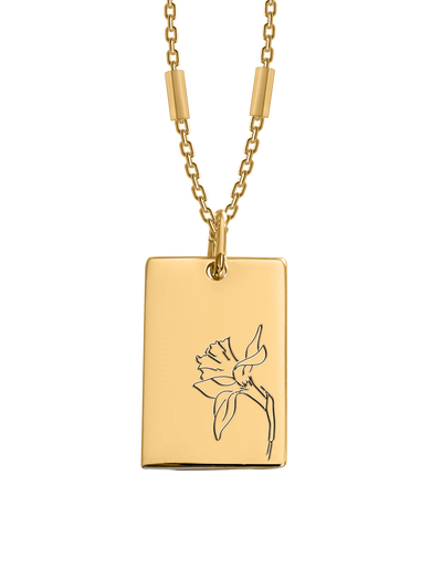 Bianko Birth Flower Necklace March (Daffodil) - Gold - Mocha