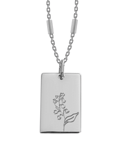 Bianko Birth Flower Necklace May (Lily of The Valley) - Silver - Mocha
