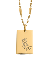 Bianko Birth Flower Necklace May (Lily of The Valley) - Gold - Mocha