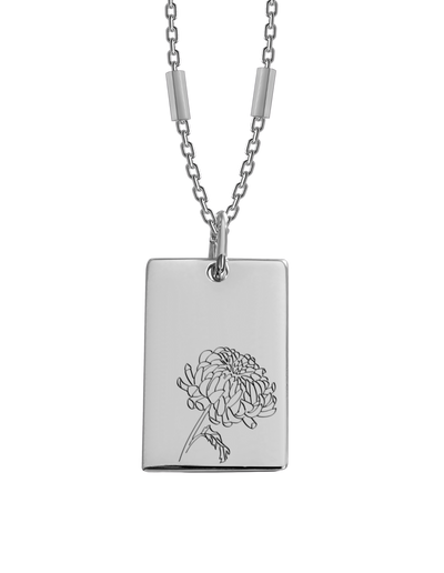 Bianko Birth Flower Necklace November (Chrysanthemums) - Silver - Mocha