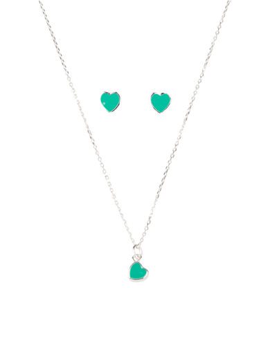 Mocha Kids Sterling Silver Heart Set - Blue - Mocha