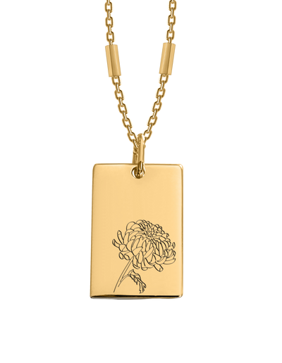Bianko Birth Flower Necklace November (Chrysanthemums) - Gold - Mocha