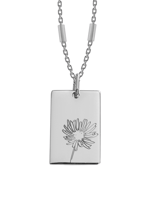 Bianko Birth Flower Necklace September (Aster) - Silver - Mocha