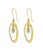 Ichu Hammered Pearl Halo Earrings - Gold - Mocha