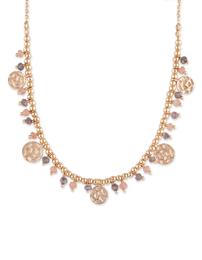 Bianc Moonstone & Labradorite Bead Disc Ball Necklace - Gold - Mocha