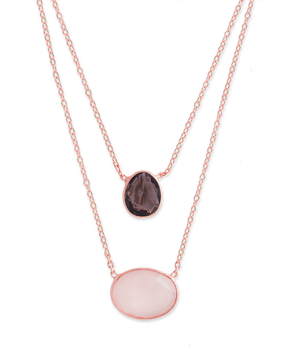 Bianc Smokey & Rose Quartz Double Chain Necklace - Rose Gold - Mocha