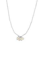 Bianc Cluster Drop Pendant Necklace w/ Freshwater Pearl - Silver - Mocha